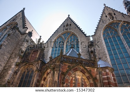 Church in the Red Light district, Amsterdam. Holland. - stock photo