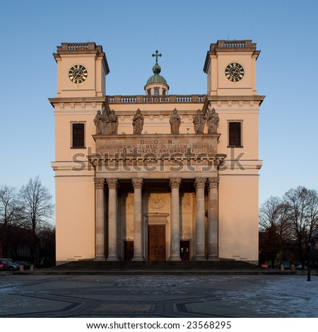 Church in the small Hungarian town of Vac - stock photo