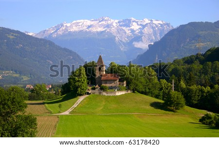 Church in the Swiss Alps - stock photo