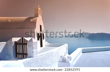 Church in the top of mountain with ocean view Santorini, Greece - stock photo