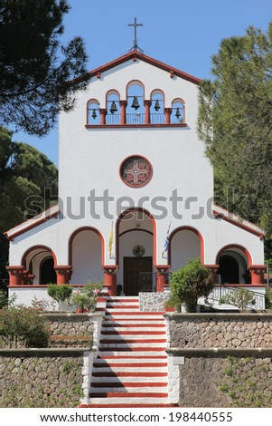church in the village Eleoussa on the island of Rhodes, Greece - stock photo