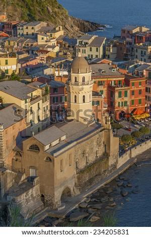 Church in Vernazza, Cinque Terre, Italy - stock photo