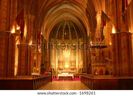 Church interior at night - stock photo