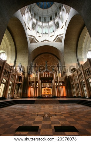 Church interior: Basilica of the Sacred Heart in Brussels, Belgium - stock photo