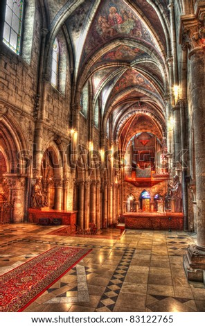 church interior hdr - stock photo