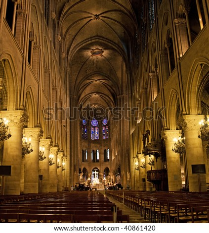 Church interior with altar and windows - stock photo