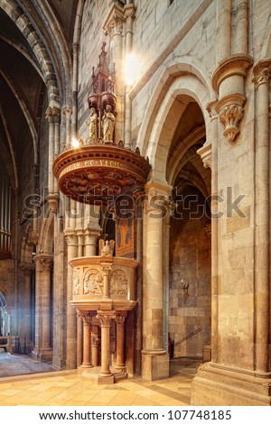 church interior with pulpit - stock photo