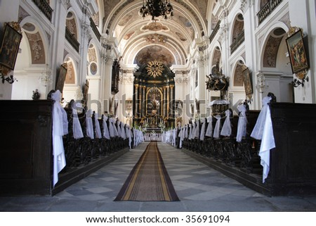 church is ready for wedding in otmuchow (poland) - stock photo
