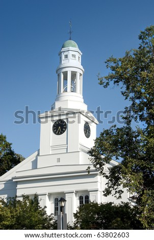Church located in New England fishing village of Rockport, Massachusetts, USA - stock photo