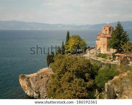 Church monastery attraction in Ohrid lake, Macedonia. - stock photo