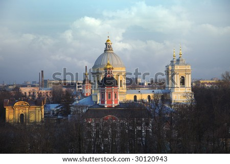 Church. Monastery. St.-Petersburg. A landscape