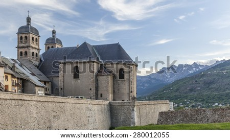 Church Notre Dame and Saint Nicolas in Briancon, France - stock photo