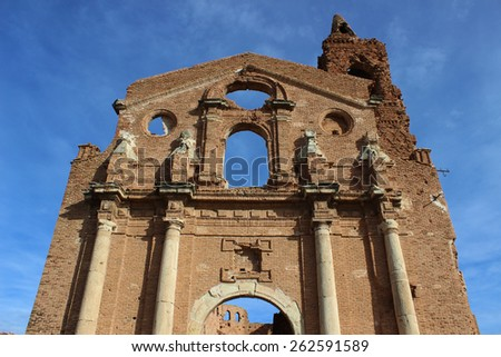 Church of Belchite, Aragonese village destroyed during the Spanish Civil War. - stock photo
