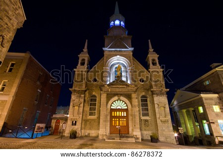 Church of Bonsecours in Old Montreal (night scene). - stock photo