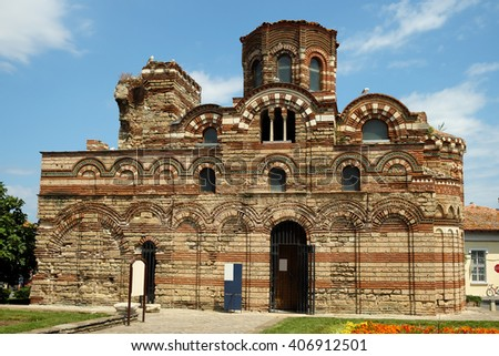 Church of Christ Pantocrator in old town of Nessebar, Bulgaria - stock photo