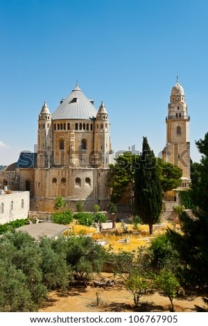 Church of  Dormition and Armenian Cemetery on Mount Zion - stock photo