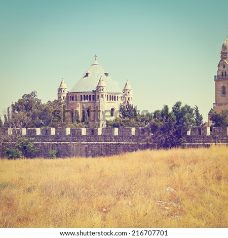 Church of Dormition and Bell-Tower on Mount Zion in Jerusalem, Israel, Instagram Effect - stock photo