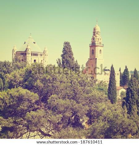 Church of  Dormition in Jerusalem, Instagram Effect - stock photo