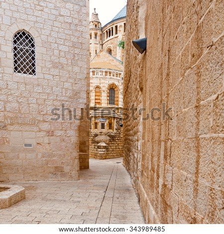 Church of Dormition on Mount Zion in Jerusalem - stock photo