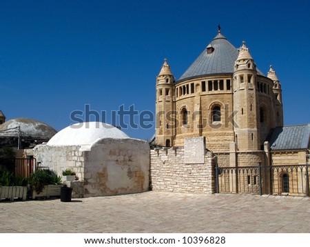 Church of Dormition on Mount Zion, Jerusalem, Israel - stock photo