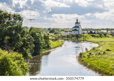 Church of Elijah the Prophet on Ivanova mountain or Elias Church - Orthodox church in Suzdal, on the banks of the Kamenka River, Russia. Gold ring of Russia. - stock photo