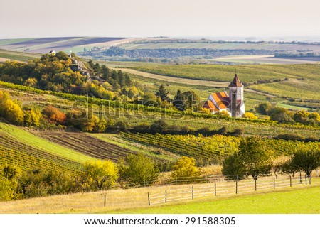 church of Falkenstein with autumnal vineyards, Lower Austria, Austria - stock photo