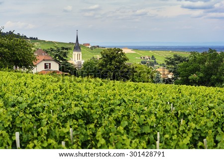 Church of Fleurie village and vineyards, Beaujolais, France - stock photo