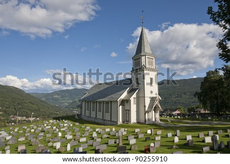 Church of Gol (Norway). The church was build in 1882 and designed by Henrik Nissen. - stock photo