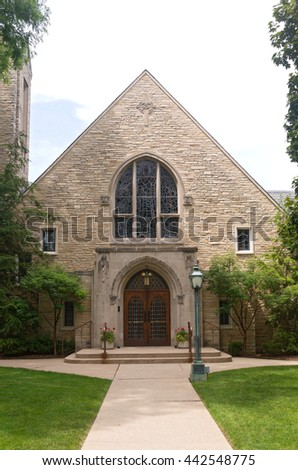 church of gothic revival and prairie school architectural style in western springs illinois  - stock photo