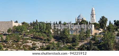 Church of Hagia Maria Sion abbey in the Old City of Jerusalem - stock photo