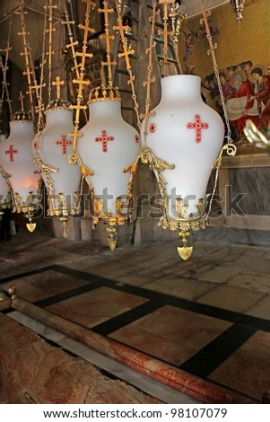 Church of Holy Sepulchre, the place where to put Jesus Christ, after removal from kresta.Jerusalem - stock photo