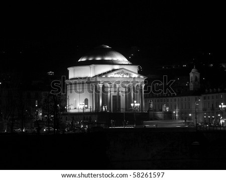 Church of La Gran Madre in Turin, Italy - at night