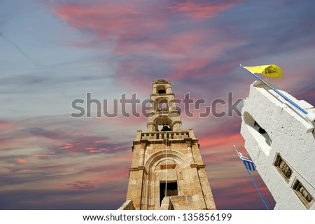 church of Lindos, town in the Rhodes island, Greece - stock photo