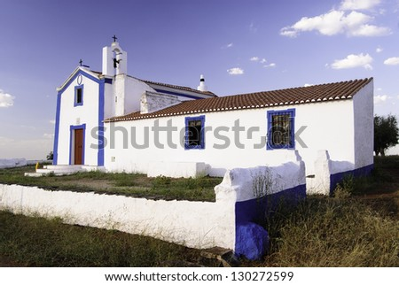 Church of Nossa Senhora do Carmo at Sao Miguel Mount, Sousel, Portalegre, Portugal - stock photo
