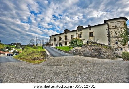 Church of Notre-Dame-de-l-Assomption in La Bastide-Clairence village in Lower Navarre Province of French Basque country, Atlantic Pyrenees, Aquitaine, France - stock photo