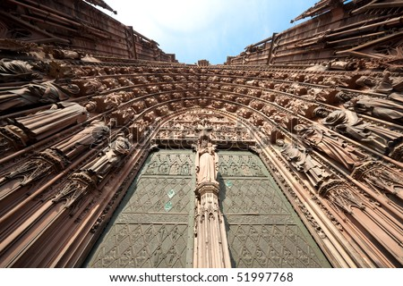 Church of Notre Dame, Strasbourg (France) - Main gate - stock photo