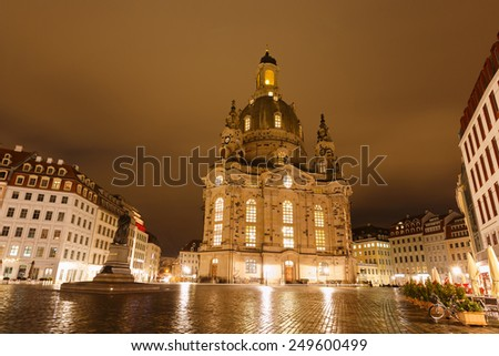 Church of Our Lade at night, Dresden, Germany - stock photo
