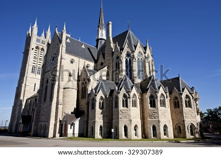 Church of our Lady Guelph Ontario gothic - stock photo