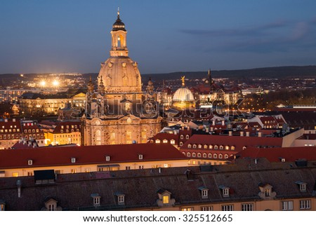 church of our lady in Dresden in the evening light - stock photo