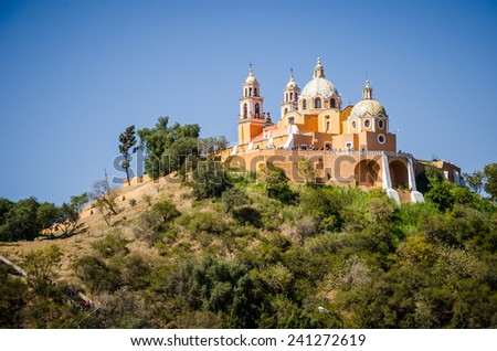 Church of Our Lady of Remedies at the top of Cholula pyramid - stock photo
