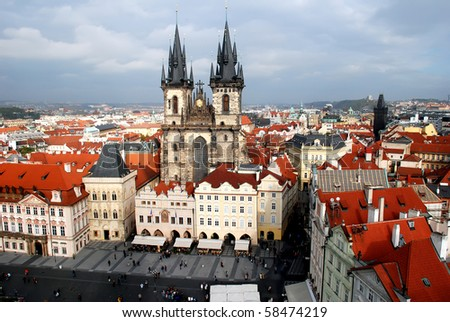 Church of our Lady - the main church of old town of Prague Czech Republic - stock photo