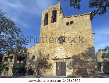 Church of Pals.Catalonia.Spain - stock photo