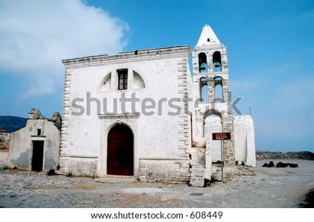 Church of Panayia Myrtidotissa, Kythera, Greece. - stock photo