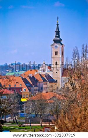 Church of Saint Ana in Krizevci vertical view, Prigorje, Croatia - stock photo
