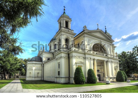 Church of Saint Anne in Wilanow, Warsaw, Poland - stock photo