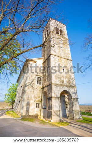 Church of saint Elija from 1802 in village of Kopriva, coast and the karst region of Slovenia, Europe. - stock photo