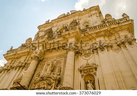 Church of Saint John the Baptist, facade. Masterpiece of baroque art in Lecce, Salento, Italy - stock photo