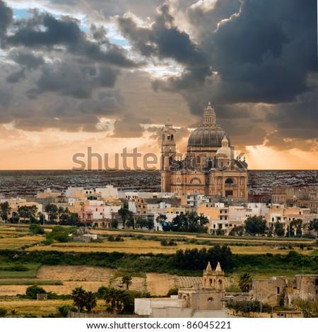 Church of Saint John the Baptist, Xewkija, Gozo island, Malta - stock photo