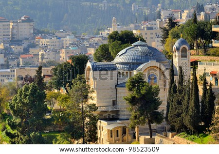 Church of Saint Peter in Gallicantu in Jerusalem, Israel. The spot dates from 457 AD and the present name was given by Crusaders in 1102 AD. - stock photo