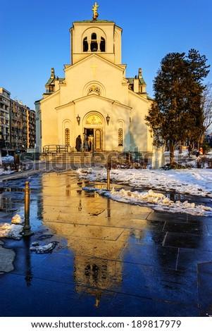 Church of Saint Sava at sunset, Belgrade, Serbia - stock photo